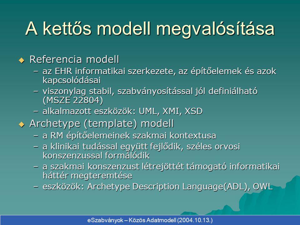 eSzabványok – Közös Adatmodell (2004.10.13.) A kettős modell megvalósítása  Referencia modell –az EHR informatikai szerkezete, az építőelemek és azok