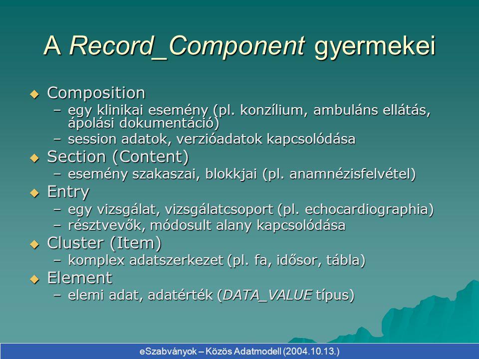 eSzabványok – Közös Adatmodell (2004.10.13.) A Record_Component gyermekei  Composition –egy klinikai esemény (pl. konzílium, ambuláns ellátás, ápolás