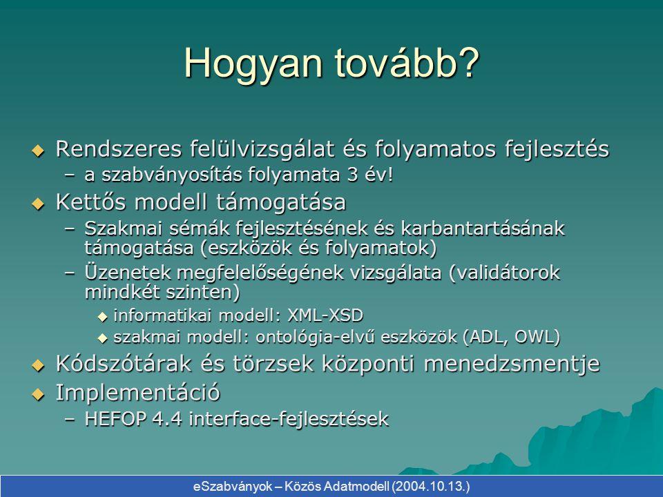 eSzabványok – Közös Adatmodell (2004.10.13.) Hogyan tovább?  Rendszeres felülvizsgálat és folyamatos fejlesztés –a szabványosítás folyamata 3 év!  K