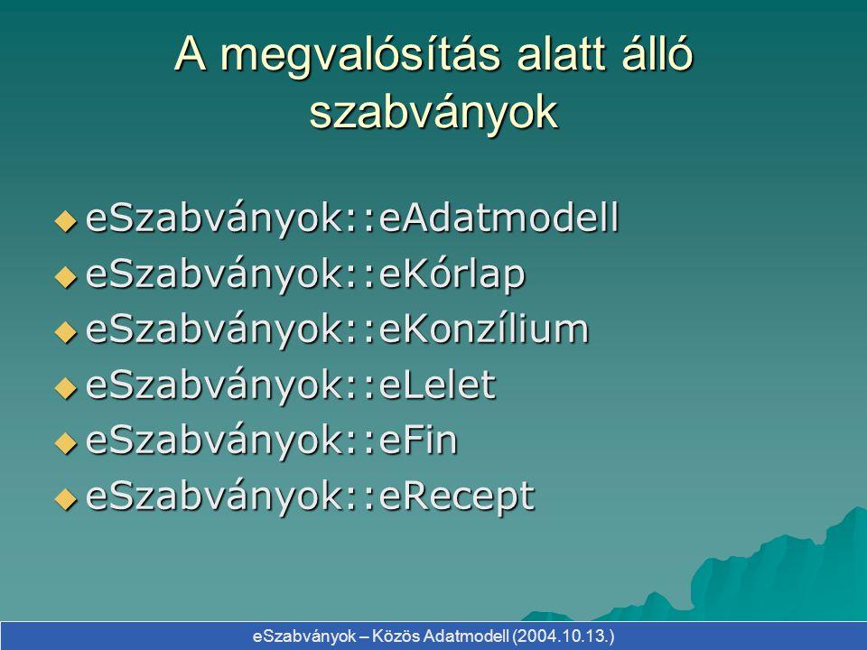 eSzabványok – Közös Adatmodell (2004.10.13.) A megvalósítás alatt álló szabványok  eSzabványok::eAdatmodell  eSzabványok::eKórlap  eSzabványok::eKo