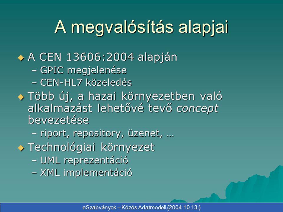 eSzabványok – Közös Adatmodell (2004.10.13.) Kettős modell megközelítés  Mind a HL7, mind a CEN/openEHR megközelítése kettős modell alapú –informatikai modell (Reference Information Model) –szakmai modell (CDA, MDF, Archetype Model)  Előnyei –az informatikai modell hosszútávon stabil – a szabványosíthatóság követelményeinek megfelel (eAdatmodell, eFin, eRecept) –a szakmai modell rugalmasan alakítható – az informatikai modell változtatása nélkül (eKórlap, eKonzílium, eLelet)
