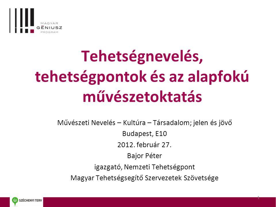 Tehetségnevelés, tehetségpontok és az alapfokú művészetoktatás Művészeti Nevelés – Kultúra – Társadalom; jelen és jövő Budapest, E10 2012.