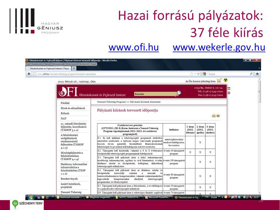 Hazai forrású pályázatok: 37 féle kiírás www.ofi.huwww.ofi.hu www.wekerle.gov.huwww.wekerle.gov.hu 18