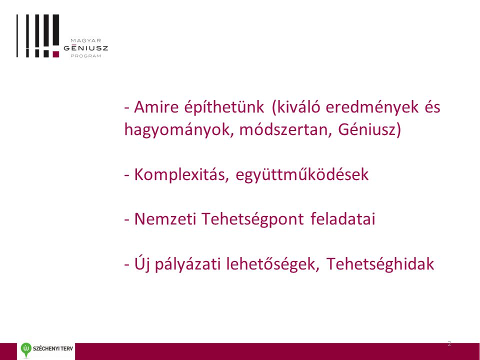 3 Nemzeti Tehetség Program 2009-2011: Magyar Géniusz Program