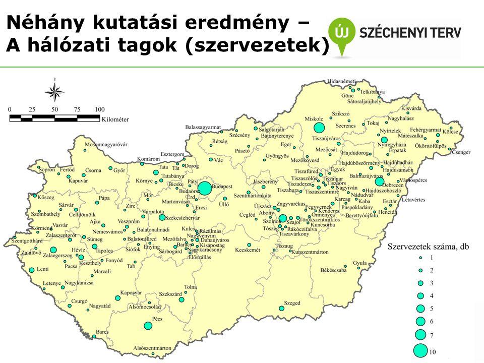 Projekthelyszínek – szolgáltatási tapasztalatok Néhány kutatási eredmény – A hálózati tagok (projektek) Összesen (74) A2 (9)A3 (36)AMSZ (29) Igen, a teljes szolgáltatási kört nyújtották már korábban is.