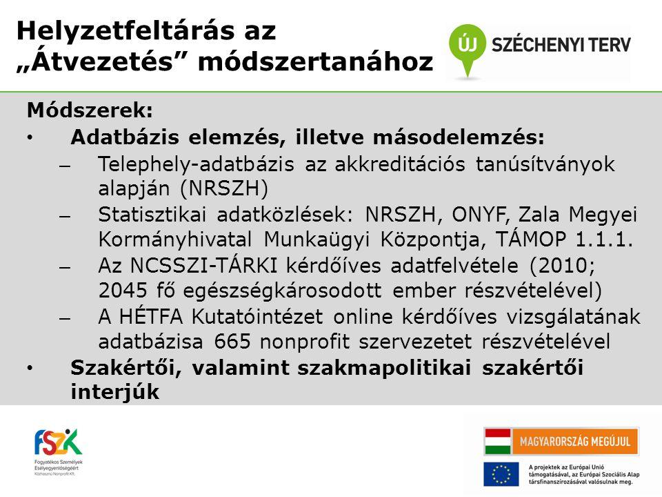 """Módszerek: • Helyszíni vizsgálatok (Budapesten, Szabolcs-Szatmár- Bereg megyében, Hajdú-Bihar megyében, illetve Baranya megyében) • Fókuszcsoportos interjúk 1-15 főt, illetve 16-99 főt foglalkoztató akkreditált szervezetek munkatársainak részvételével • Fókuszcsoportos interjú nonprofit munkaerő-piaci szolgáltatók részvételével • Online kérdőíves felmérés az akkreditált foglalkoztatók körében Helyzetfeltárás az """"Átvezetés módszertanához"""