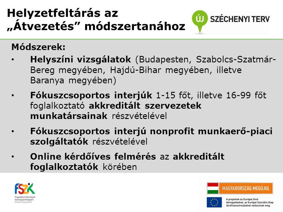 Módszerek: • Helyszíni vizsgálatok (Budapesten, Szabolcs-Szatmár- Bereg megyében, Hajdú-Bihar megyében, illetve Baranya megyében) • Fókuszcsoportos in