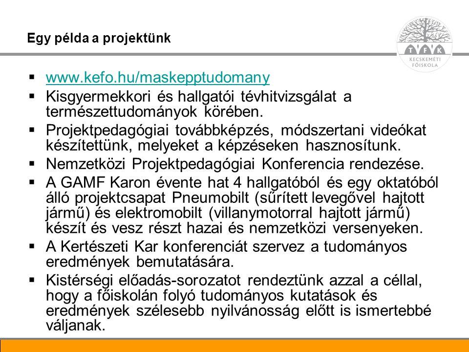 8 Egy példa a projektünk  www.kefo.hu/maskepptudomany www.kefo.hu/maskepptudomany  Kisgyermekkori és hallgatói tévhitvizsgálat a természettudományok