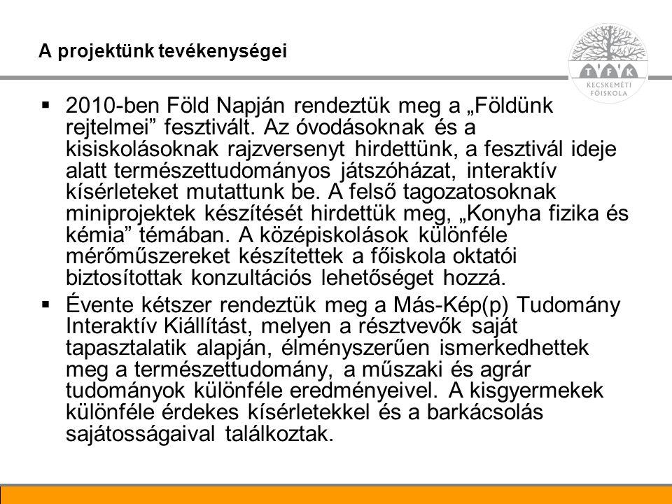 10 További tevékenységek  A Főiskola mindhárom kara bővítette TMDK tevékenységét.