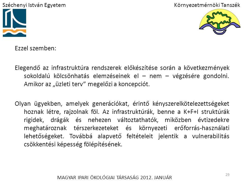 Széchenyi István EgyetemKörnyezetmérnöki Tanszék MAGYAR IPARI ÖKOLÓGIAI TÁRSASÁG 2012.