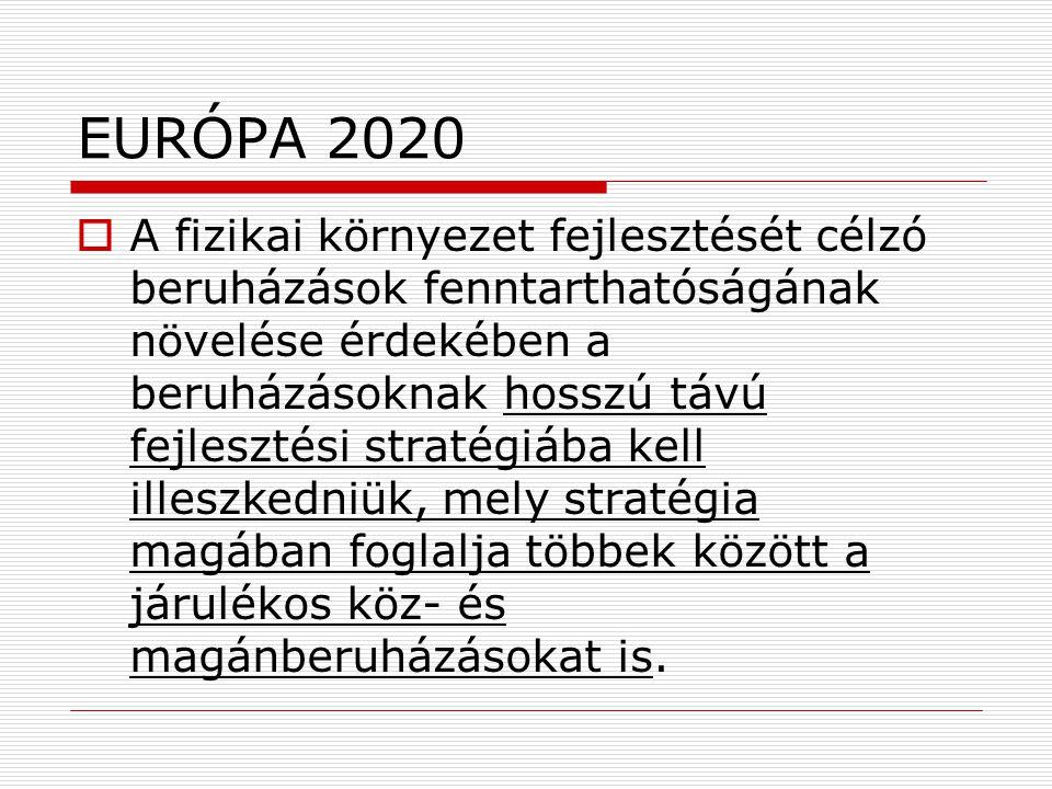 EURÓPA 2020  A fizikai környezet fejlesztését célzó beruházások fenntarthatóságának növelése érdekében a beruházásoknak hosszú távú fejlesztési stratégiába kell illeszkedniük, mely stratégia magában foglalja többek között a járulékos köz- és magánberuházásokat is.
