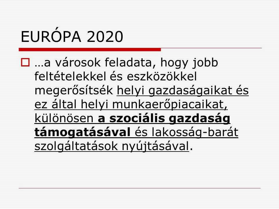 EURÓPA 2020  …a városok feladata, hogy jobb feltételekkel és eszközökkel megerősítsék helyi gazdaságaikat és ez által helyi munkaerőpiacaikat, különösen a szociális gazdaság támogatásával és lakosság-barát szolgáltatások nyújtásával.
