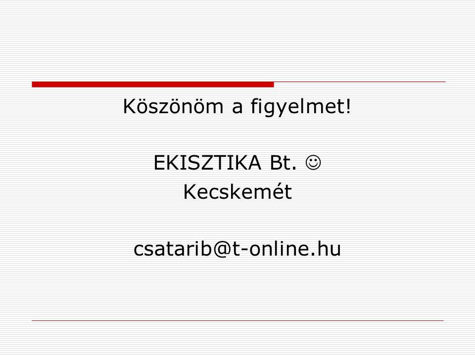 Köszönöm a figyelmet! EKISZTIKA Bt.  Kecskemét csatarib@t-online.hu