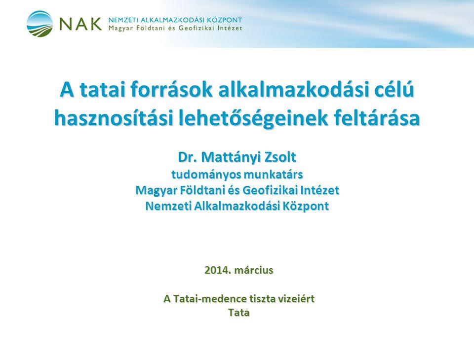 A tatai források alkalmazkodási célú hasznosítási lehetőségeinek feltárása Dr.