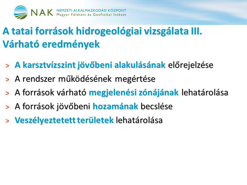 > A karsztvízszint jövőbeni alakulásának előrejelzése > A rendszer működésének megértése > A források várható megjelenési zónájának lehatárolása > A források jövőbeni hozamának becslése > Veszélyeztetett területek lehatárolása A tatai források hidrogeológiai vizsgálata III.