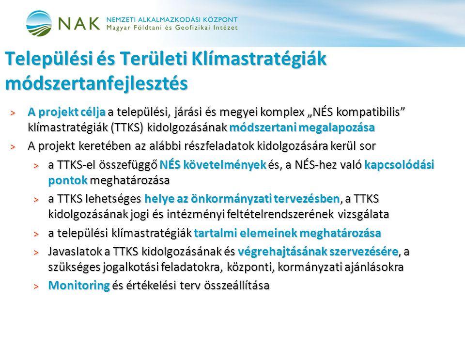 """> A projekt célja a települési, járási és megyei komplex """"NÉS kompatibilis klímastratégiák (TTKS) kidolgozásának módszertani megalapozása > A projekt keretében az alábbi részfeladatok kidolgozására kerül sor > a TTKS-el összefüggő NÉS követelmények és, a NÉS-hez való kapcsolódási pontok meghatározása > a TTKS lehetséges helye az önkormányzati tervezésben, a TTKS kidolgozásának jogi és intézményi feltételrendszerének vizsgálata > a települési klímastratégiák tartalmi elemeinek meghatározása > Javaslatok a TTKS kidolgozásának és végrehajtásának szervezésére, a szükséges jogalkotási feladatokra, központi, kormányzati ajánlásokra > Monitoring és értékelési terv összeállítása Települési és Területi Klímastratégiák módszertanfejlesztés"""