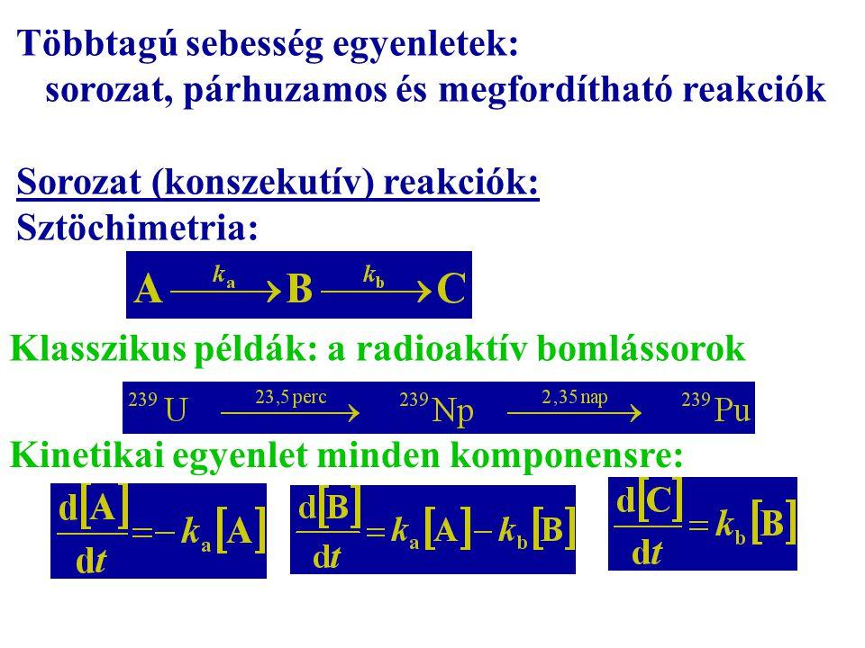Többtagú sebesség egyenletek: sorozat, párhuzamos és megfordítható reakciók Sorozat (konszekutív) reakciók: Sztöchimetria: Klasszikus példák: a radioa