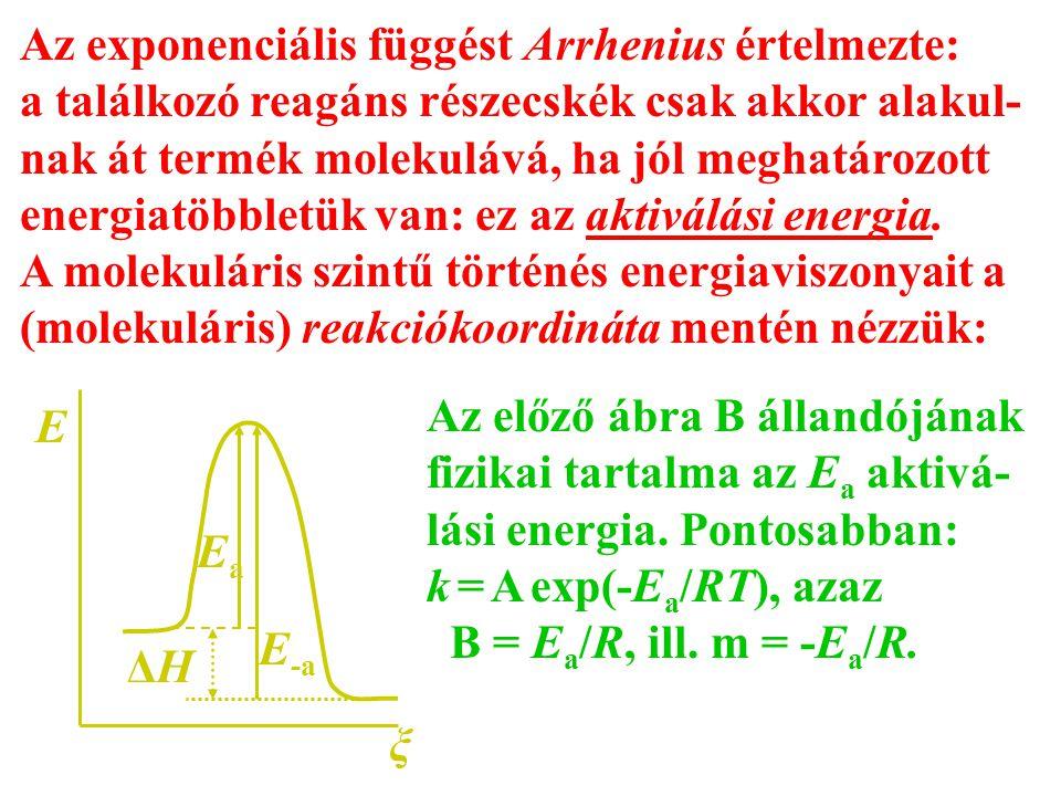 Az exponenciális függést Arrhenius értelmezte: a találkozó reagáns részecskék csak akkor alakul- nak át termék molekulává, ha jól meghatározott energi