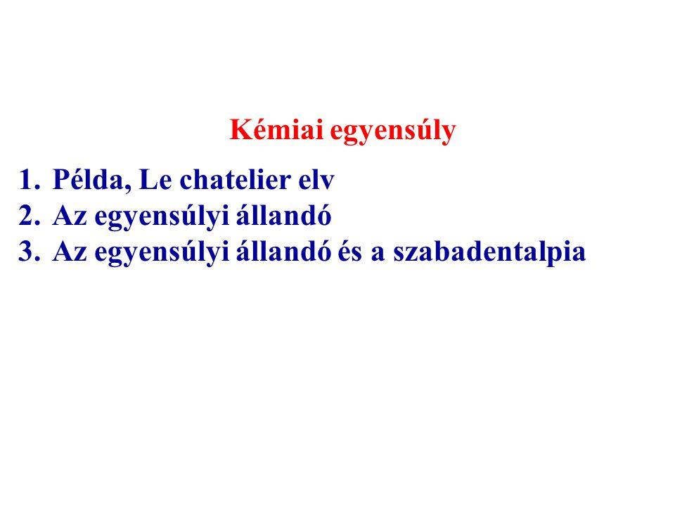Kémiai egyensúly 1.Példa, Le chatelier elv 2.Az egyensúlyi állandó 3.Az egyensúlyi állandó és a szabadentalpia