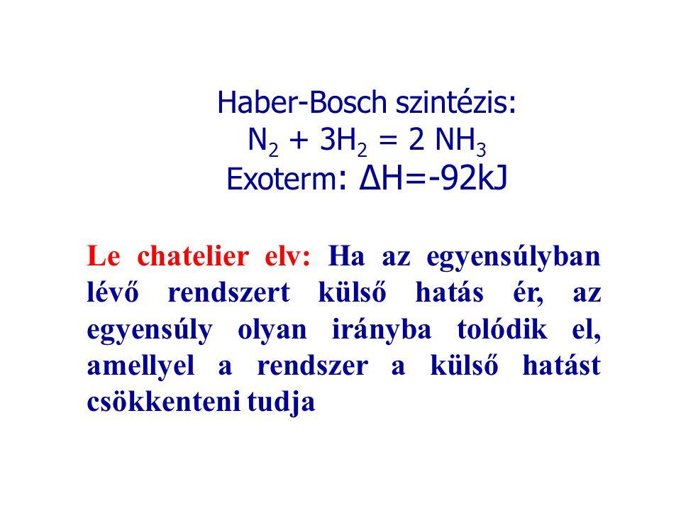 Haber-Bosch szintézis: N 2 + 3H 2 = 2 NH 3 Exoterm : ΔH=-92kJ Le chatelier elv: Ha az egyensúlyban lévő rendszert külső hatás ér, az egyensúly olyan i