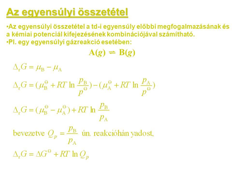 Az egyensúlyi összetétel •Az egyensúlyi összetétel a td-i egyensúly előbbi megfogalmazásának és a kémiai potenciál kifejezésének kombinációjával számí