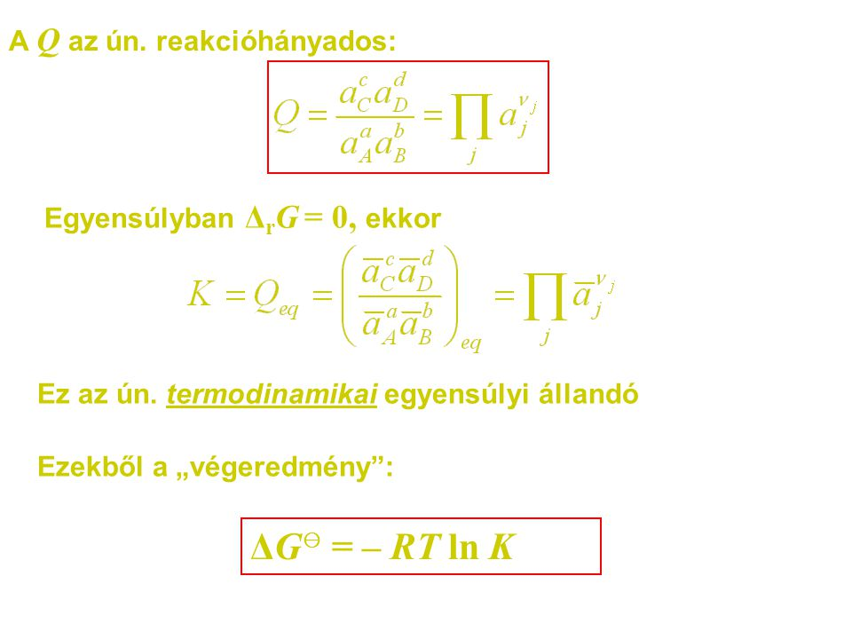 """A Q az ún. reakcióhányados: Egyensúlyban Δ r G = 0, ekkor Ezekből a """"végeredmény"""": Ez az ún. termodinamikai egyensúlyi állandó ΔG ⊖ = – RT ln K"""