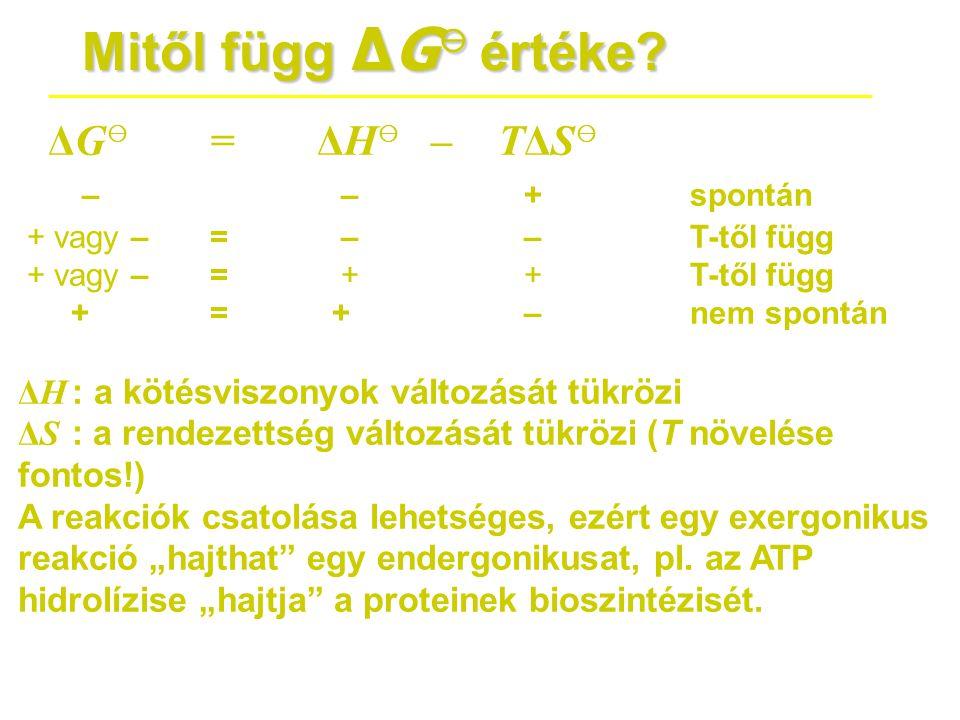 Mitől függ ΔG ⊖ értéke? ΔG ⊖ = ΔH ⊖ –TΔS ⊖ – – +spontán + vagy –= – –T-től függ + vagy –= + +T-től függ += + –nem spontán ΔH : a kötésviszonyok változ