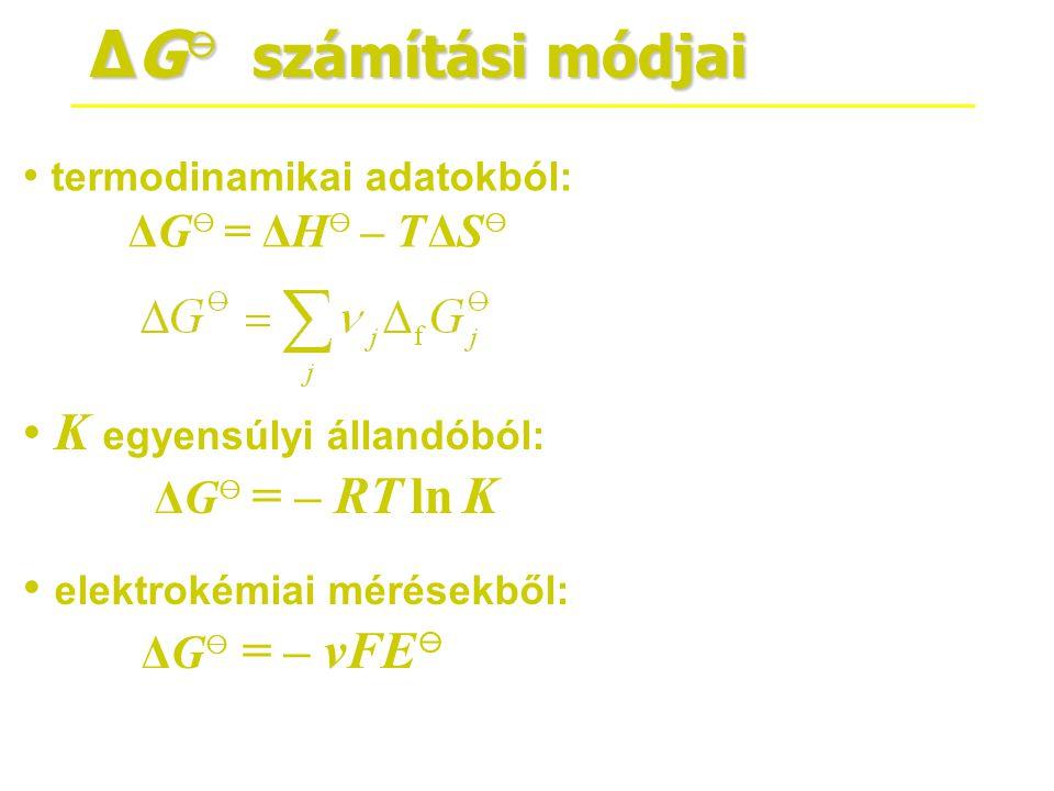 ΔG ⊖ számítási módjai • termodinamikai adatokból: ΔG ⊖ = ΔH ⊖ – T ΔS ⊖ • K egyensúlyi állandóból: ΔG ⊖ = – RT ln K • elektrokémiai mérésekből: ΔG ⊖ =