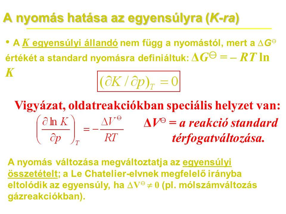 A nyomás hatása az egyensúlyra (K-ra) • A K egyensúlyi állandó nem függ a nyomástól, mert a  G ⊖ értékét a standard nyomásra definiáltuk: ΔG ⊖ = – RT