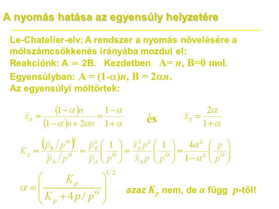 A nyomás hatása az egyensúly helyzetére Le-Chatelier-elv: A rendszer a nyomás növelésére a mólszámcsökkenés irányába mozdul el: Reakciónk: A ⇌ 2B. Kez