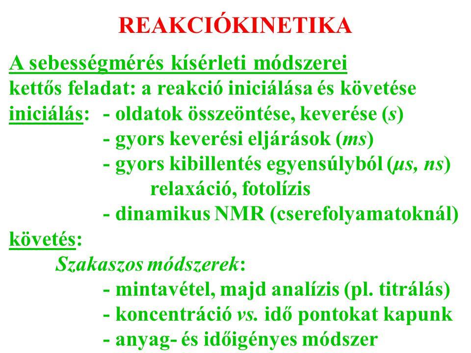 REAKCIÓKINETIKA A sebességmérés kísérleti módszerei kettős feladat: a reakció iniciálása és követése iniciálás: - oldatok összeöntése, keverése (s) -
