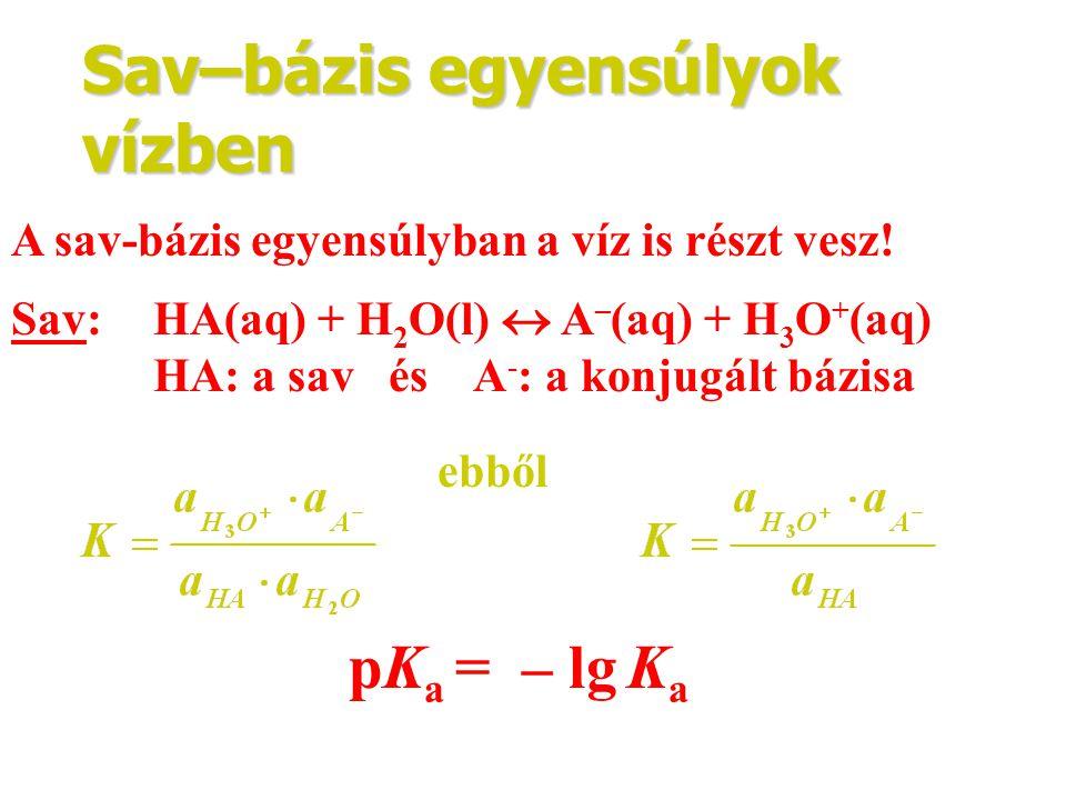 Sav–bázis egyensúlyok vízben A sav-bázis egyensúlyban a víz is részt vesz! Sav: HA(aq) + H 2 O(l)  A – (aq) + H 3 O + (aq) HA: a sav és A - : a konju