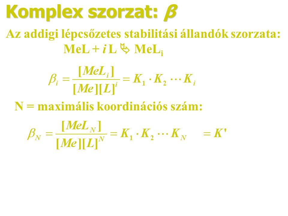 Komplex szorzat: β Az addigi lépcsőzetes stabilitási állandók szorzata: MeL + i L  MeL i N = maximális koordinációs szám: