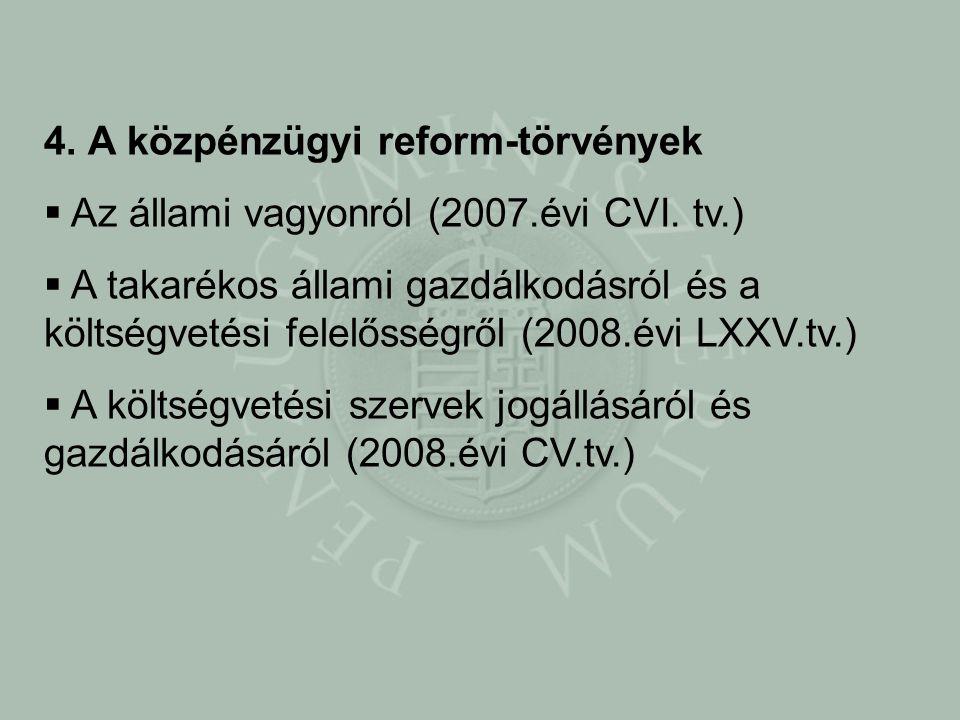 4. A közpénzügyi reform-törvények  Az állami vagyonról (2007.évi CVI.
