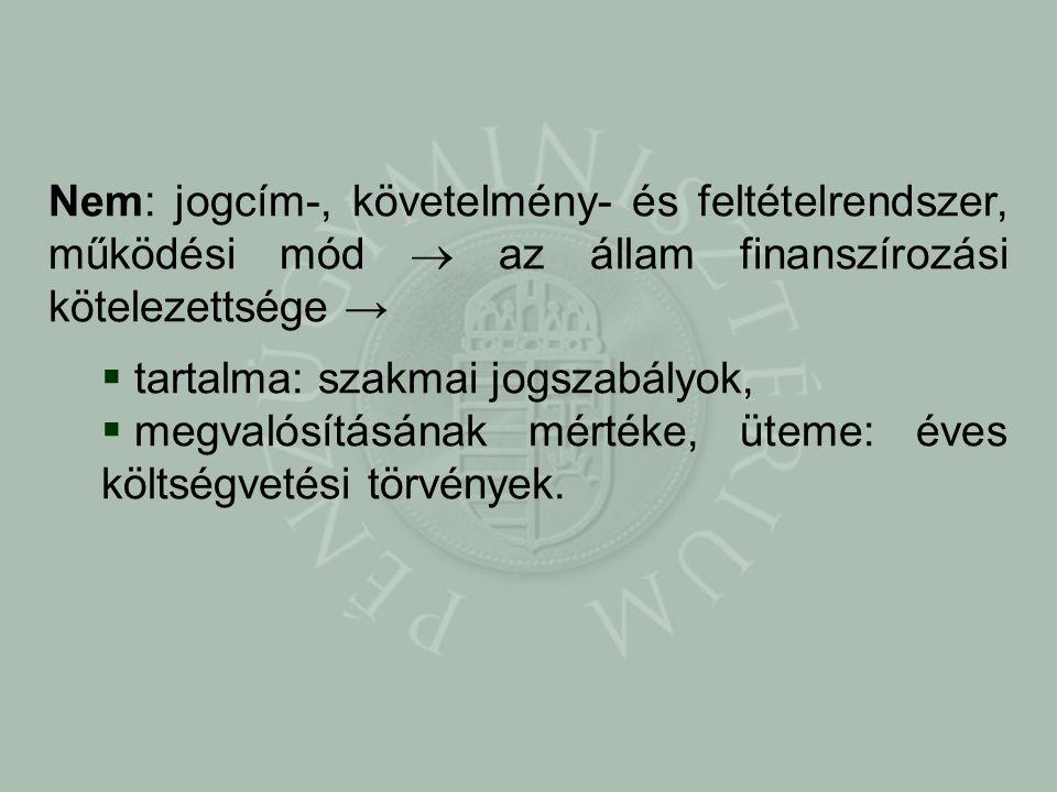 Nem: jogcím-, követelmény- és feltételrendszer, működési mód  az állam finanszírozási kötelezettsége →  tartalma: szakmai jogszabályok,  megvalósításának mértéke, üteme: éves költségvetési törvények.