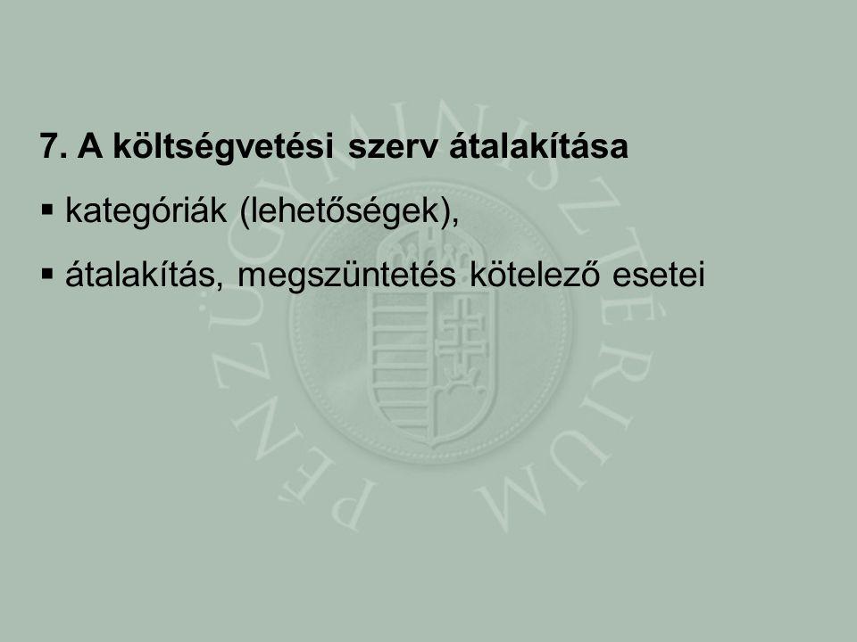 7. A költségvetési szerv átalakítása  kategóriák (lehetőségek),  átalakítás, megszüntetés kötelező esetei