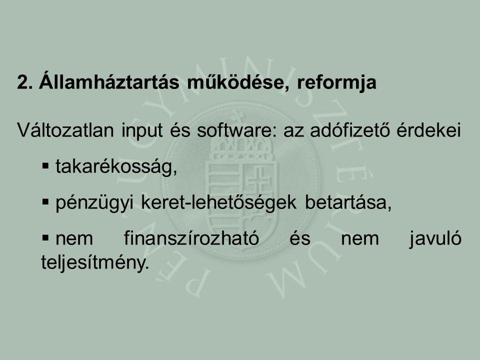 2. Államháztartás működése, reformja Változatlan input és software: az adófizető érdekei  takarékosság,  pénzügyi keret-lehetőségek betartása,  nem