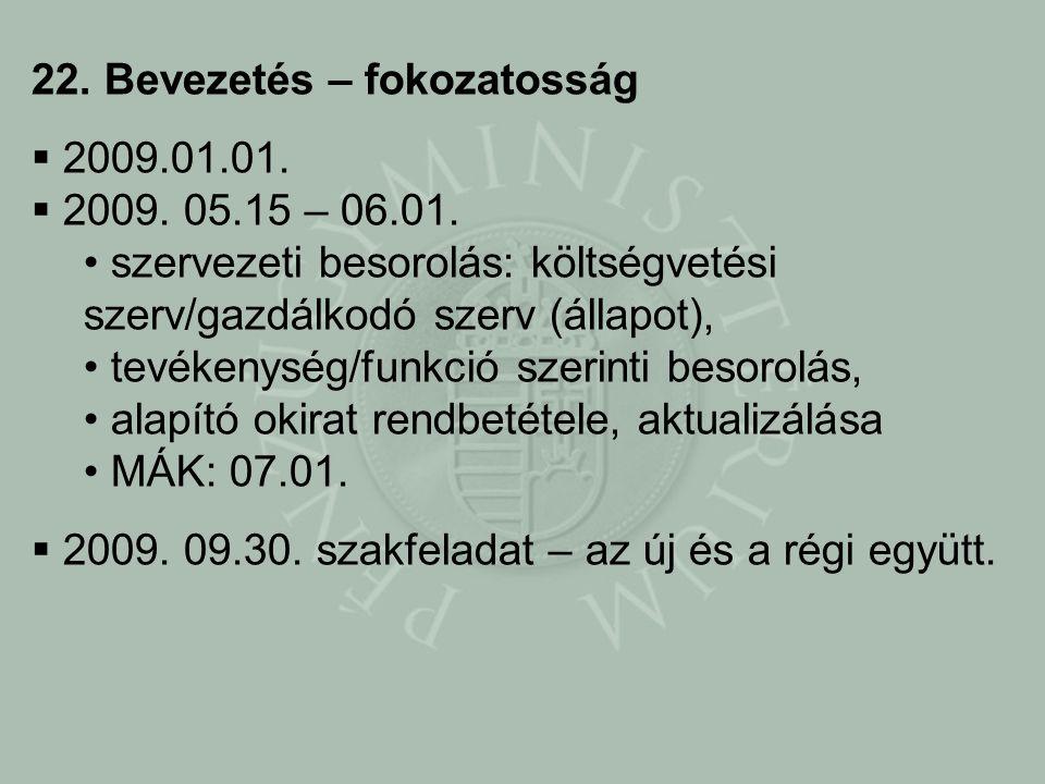 22. Bevezetés – fokozatosság  2009.01.01.  2009.