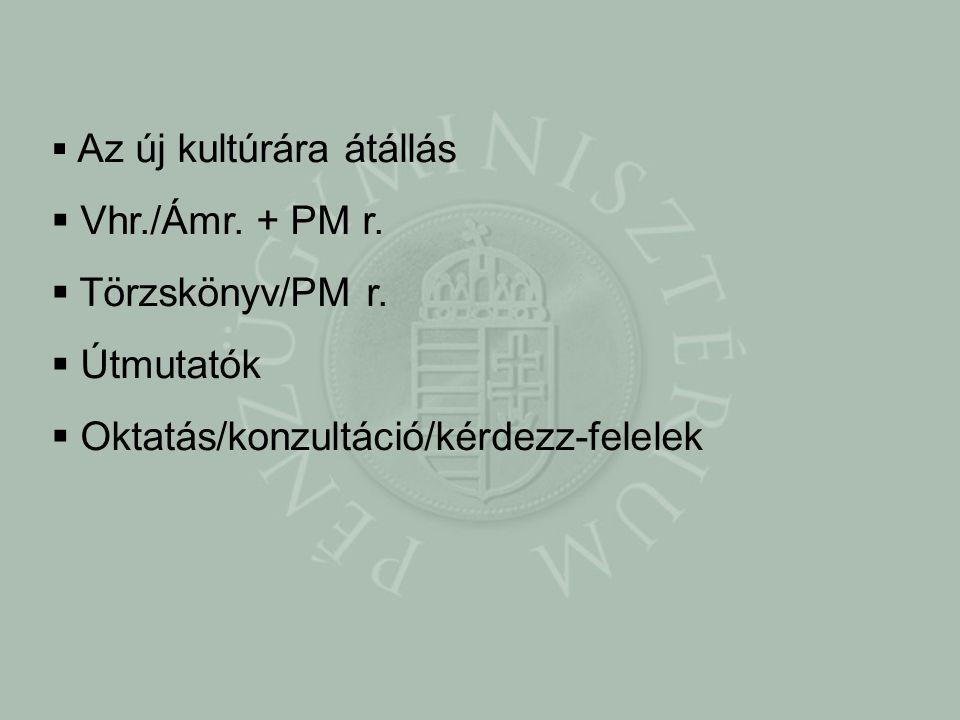  Az új kultúrára átállás  Vhr./Ámr. + PM r.  Törzskönyv/PM r.