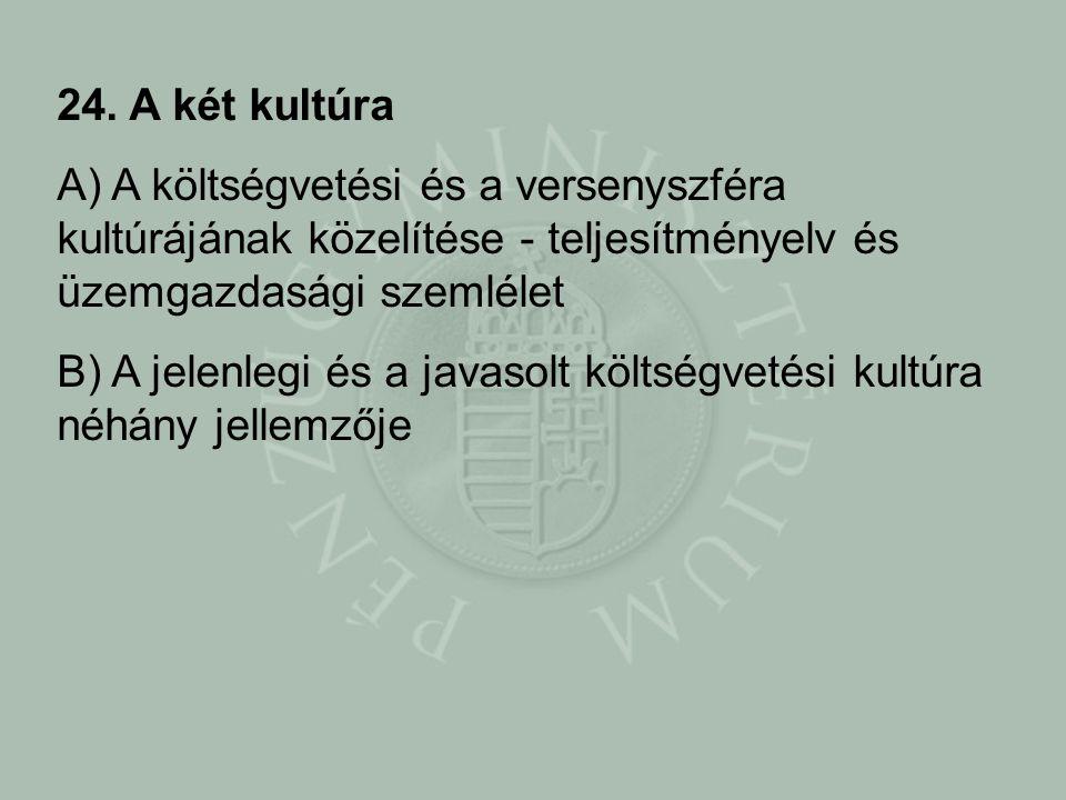 24. A két kultúra A) A költségvetési és a versenyszféra kultúrájának közelítése - teljesítményelv és üzemgazdasági szemlélet B) A jelenlegi és a javas