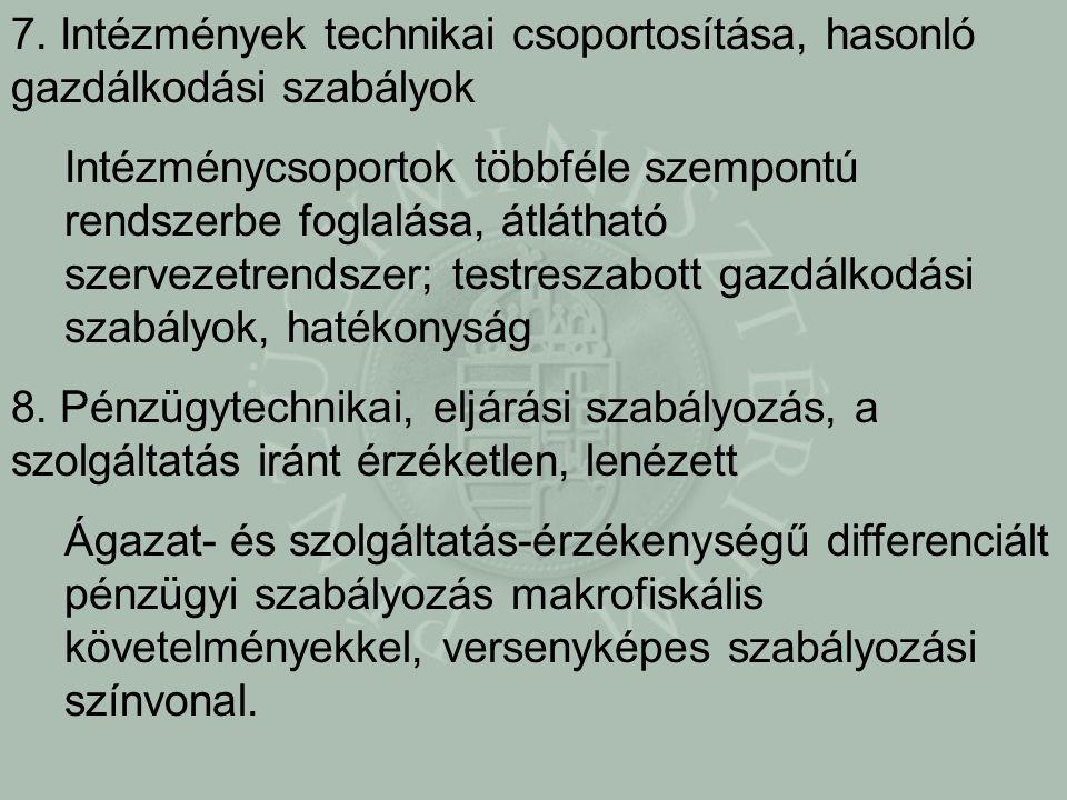 7. Intézmények technikai csoportosítása, hasonló gazdálkodási szabályok Intézménycsoportok többféle szempontú rendszerbe foglalása, átlátható szerveze