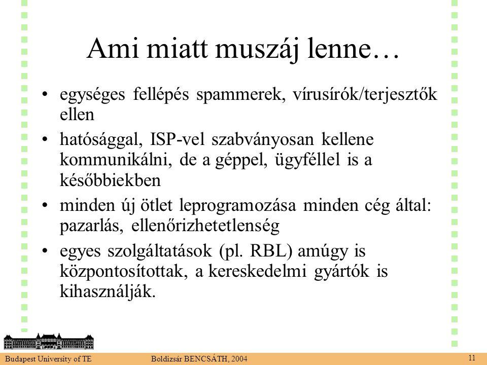 Budapest University of TE Boldizsár BENCSÁTH, 2004 11 Ami miatt muszáj lenne… •egységes fellépés spammerek, vírusírók/terjesztők ellen •hatósággal, ISP-vel szabványosan kellene kommunikálni, de a géppel, ügyféllel is a későbbiekben •minden új ötlet leprogramozása minden cég által: pazarlás, ellenőrizhetetlenség •egyes szolgáltatások (pl.
