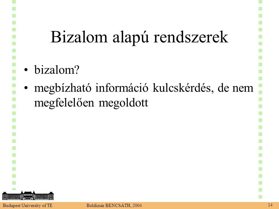 Budapest University of TE Boldizsár BENCSÁTH, 2004 14 Bizalom alapú rendszerek •bizalom.