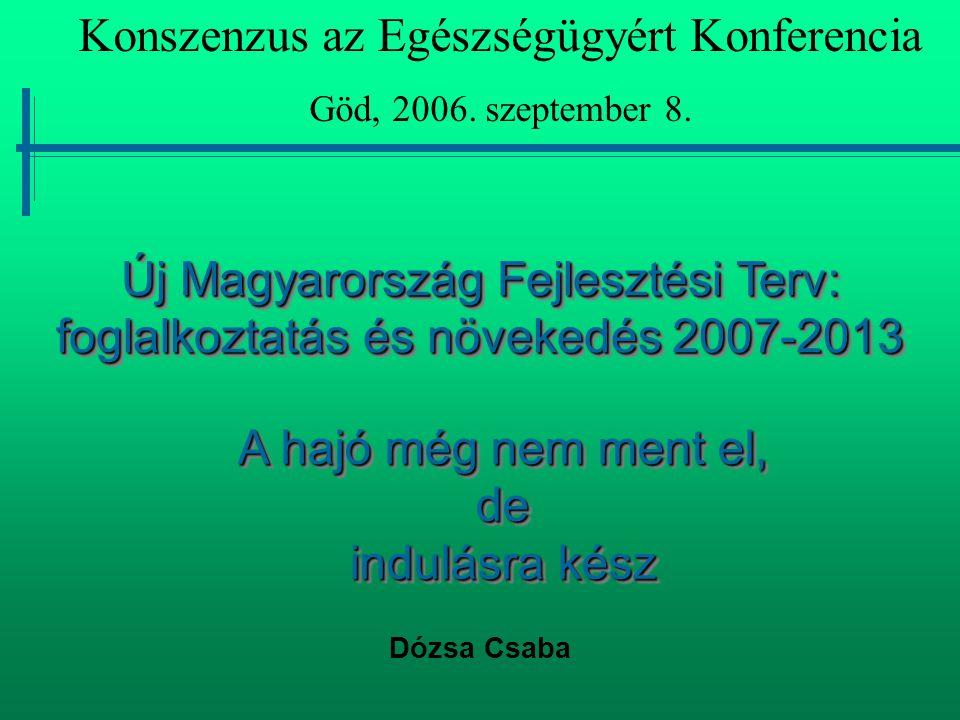 Új Magyarország Fejlesztési Terv: foglalkoztatás és növekedés 2007-2013 Dózsa Csaba Konszenzus az Egészségügyért Konferencia Göd, 2006. szeptember 8.