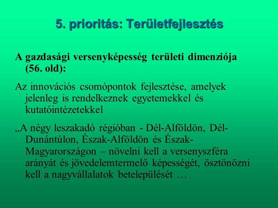 5. prioritás: Területfejlesztés A gazdasági versenyképesség területi dimenziója (56. old): Az innovációs csomópontok fejlesztése, amelyek jelenleg is