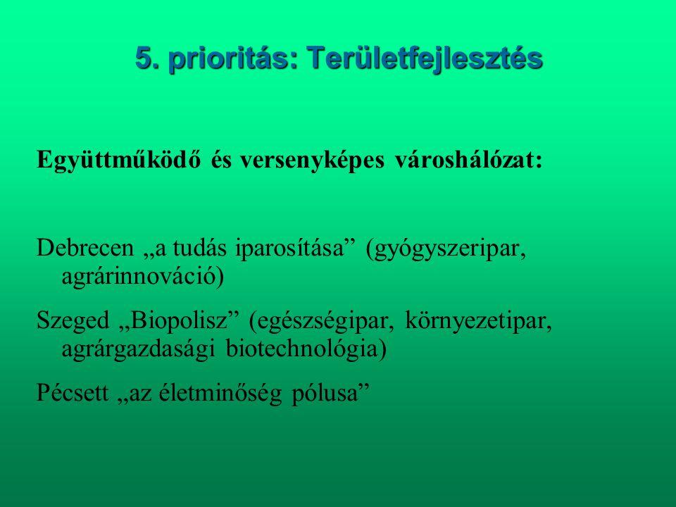 """5. prioritás: Területfejlesztés Együttműködő és versenyképes városhálózat: Debrecen """"a tudás iparosítása"""" (gyógyszeripar, agrárinnováció) Szeged """"Biop"""