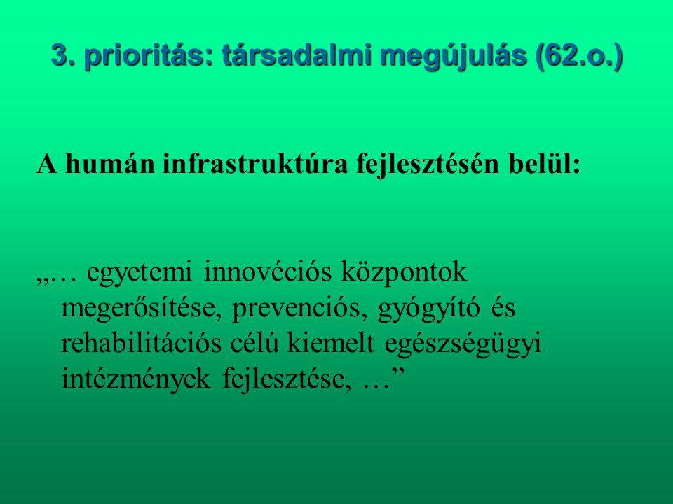 """3. prioritás: társadalmi megújulás (62.o.) A humán infrastruktúra fejlesztésén belül: """"… egyetemi innovéciós központok megerősítése, prevenciós, gyógy"""