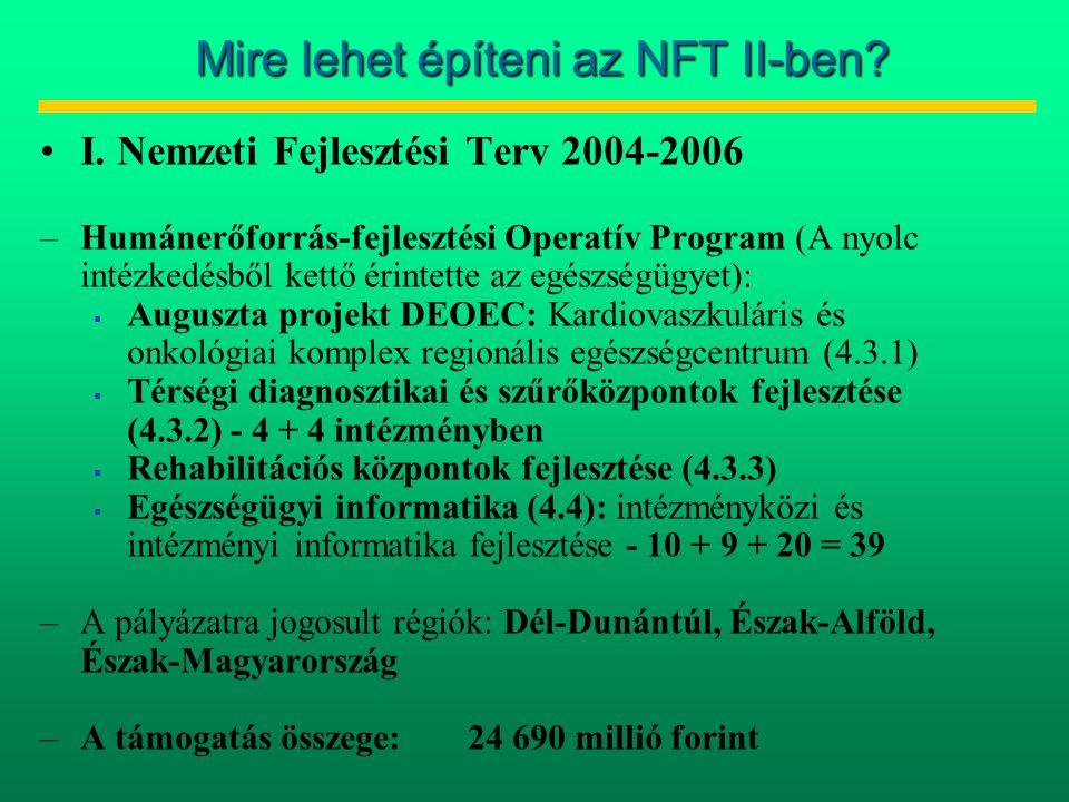 Mire lehet építeni az NFT II-ben? •I. Nemzeti Fejlesztési Terv 2004-2006 –Humánerőforrás-fejlesztési Operatív Program (A nyolc intézkedésből kettő éri