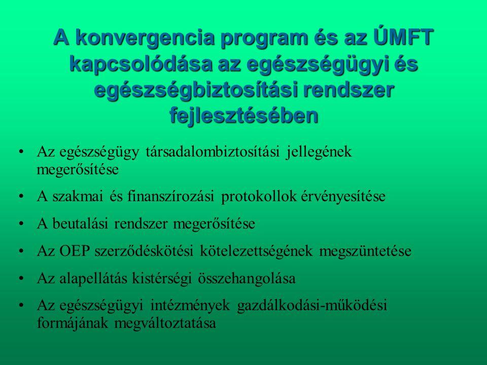 A konvergencia program és az ÚMFT kapcsolódása az egészségügyi és egészségbiztosítási rendszer fejlesztésében •Az egészségügy társadalombiztosítási je