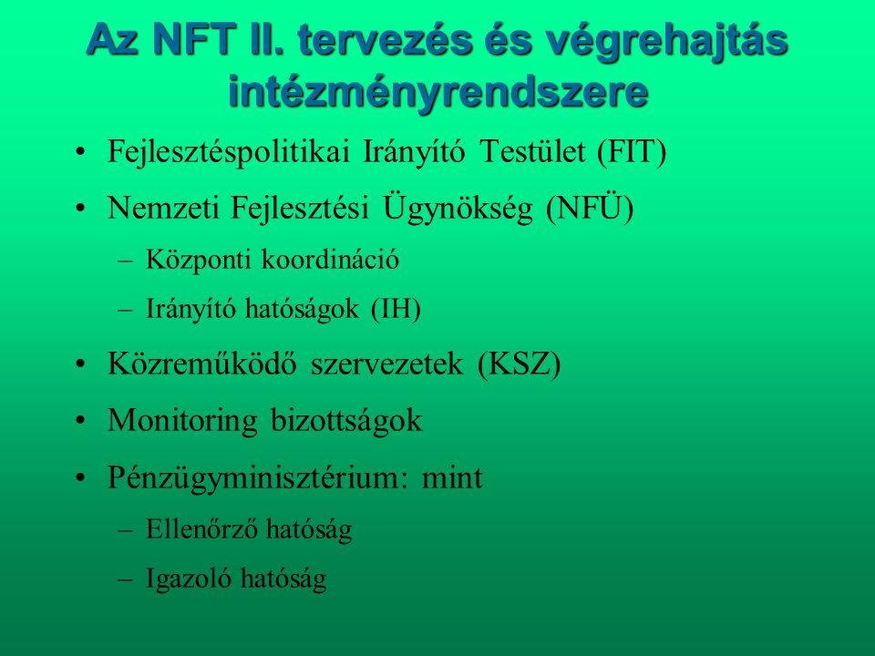 Az NFT II. tervezés és végrehajtás intézményrendszere •Fejlesztéspolitikai Irányító Testület (FIT) •Nemzeti Fejlesztési Ügynökség (NFÜ) –Központi koor